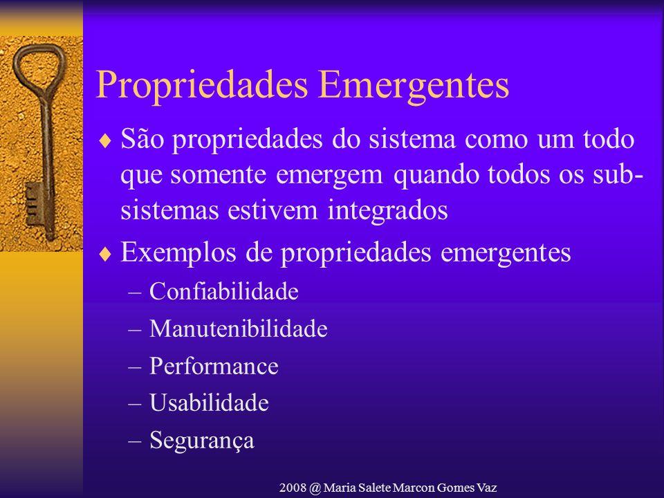 2008 @ Maria Salete Marcon Gomes Vaz Propriedades Emergentes São propriedades do sistema como um todo que somente emergem quando todos os sub- sistema