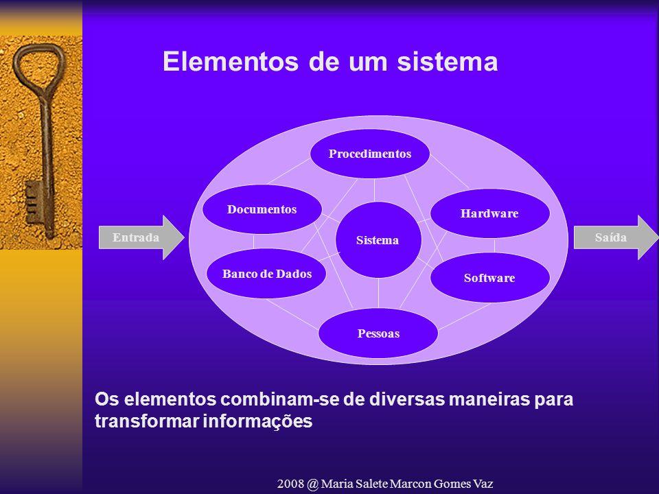 2008 @ Maria Salete Marcon Gomes Vaz Elementos de um sistema Procedimentos Documentos Banco de Dados Pessoas Hardware Software Sistema EntradaSaída Os