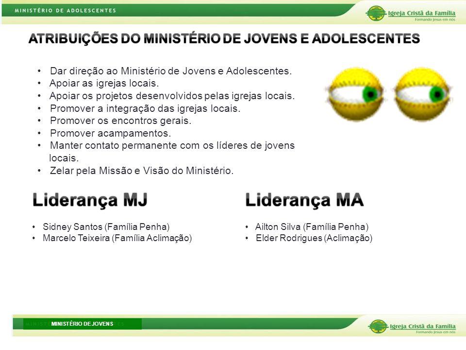 MINISTÉRIO DE JOVENS Sidney Santos (Família Penha) Marcelo Teixeira (Família Aclimação) Ailton Silva (Família Penha) Elder Rodrigues (Aclimação) Dar d