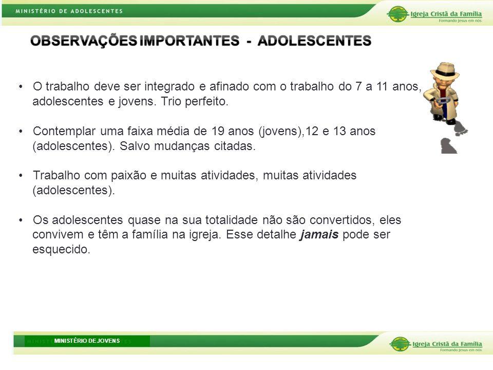 MINISTÉRIO DE JOVENS O trabalho deve ser integrado e afinado com o trabalho do 7 a 11 anos, adolescentes e jovens. Trio perfeito. Contemplar uma faixa