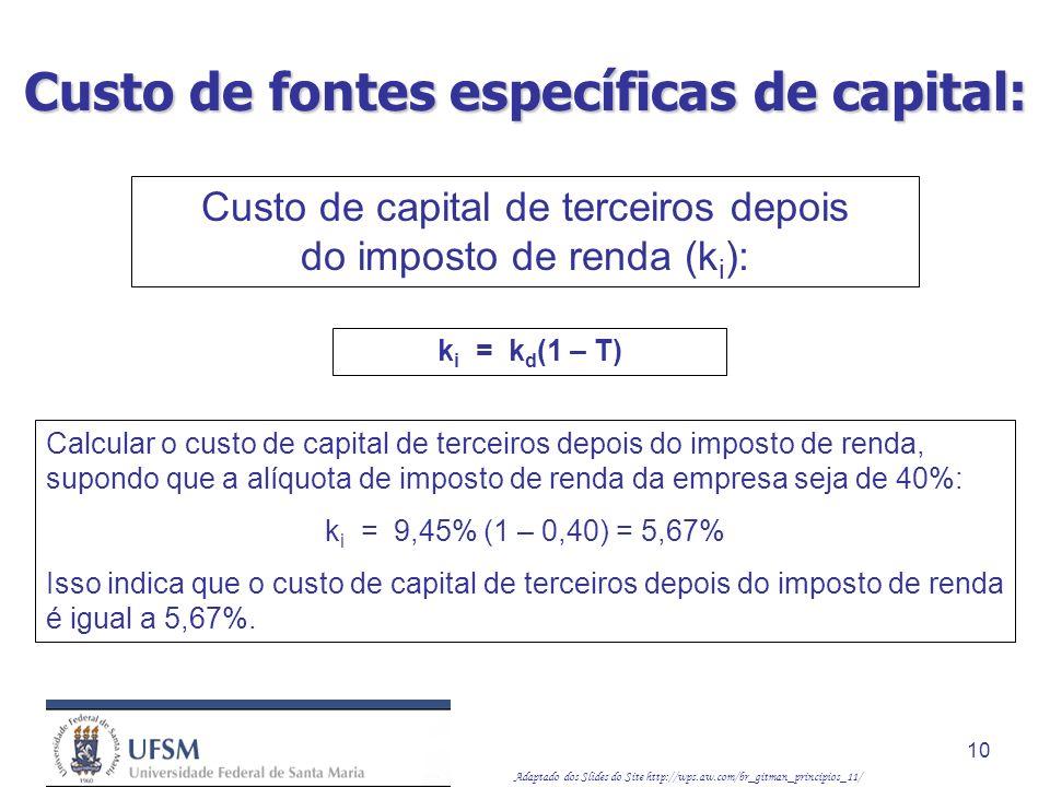 Adaptado dos Slides do Site http://wps.aw.com/br_gitman_principios_11/ 10 k i = k d (1 – T) Calcular o custo de capital de terceiros depois do imposto