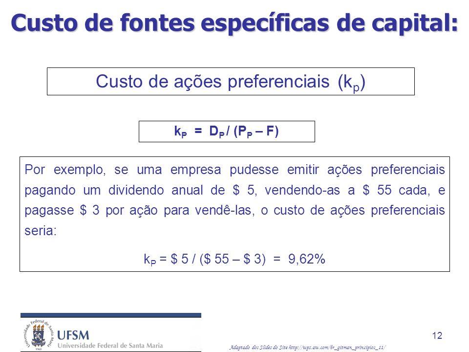 Adaptado dos Slides do Site http://wps.aw.com/br_gitman_principios_11/ 12 Por exemplo, se uma empresa pudesse emitir ações preferenciais pagando um di