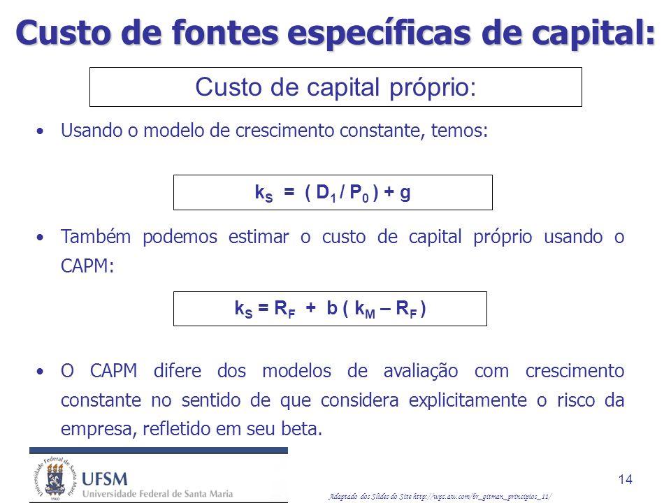 Adaptado dos Slides do Site http://wps.aw.com/br_gitman_principios_11/ 14 Custo de capital próprio: Usando o modelo de crescimento constante, temos: k