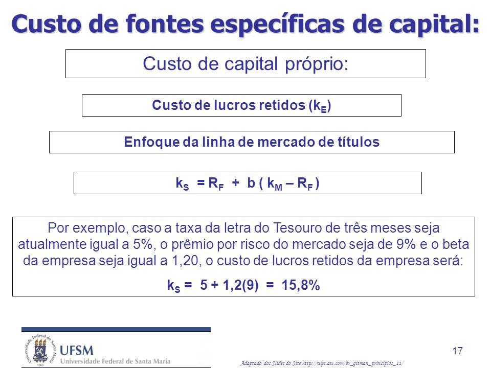 Adaptado dos Slides do Site http://wps.aw.com/br_gitman_principios_11/ 17 Custo de capital próprio: Enfoque da linha de mercado de títulos Custo de lu