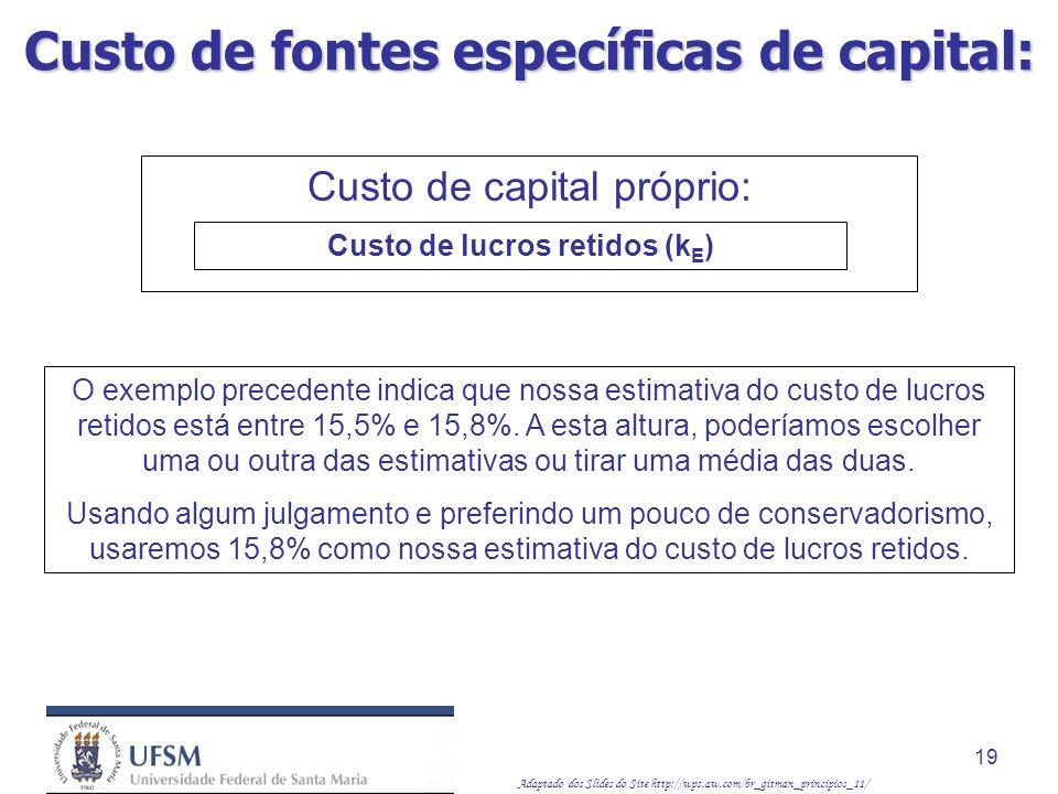 Adaptado dos Slides do Site http://wps.aw.com/br_gitman_principios_11/ 19 O exemplo precedente indica que nossa estimativa do custo de lucros retidos