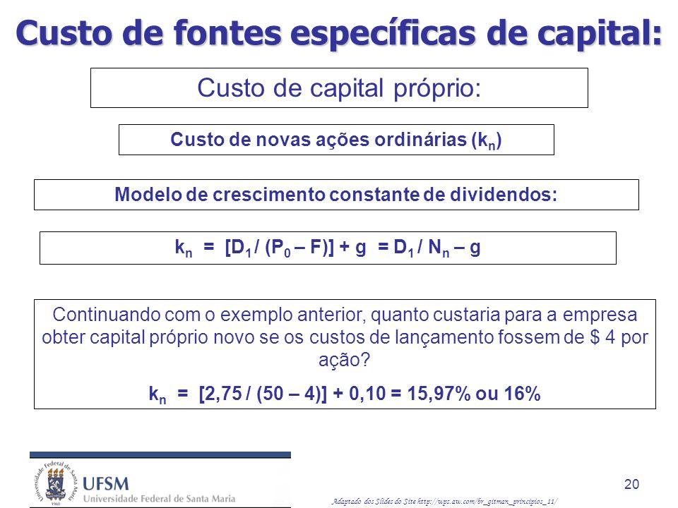 Adaptado dos Slides do Site http://wps.aw.com/br_gitman_principios_11/ 20 Modelo de crescimento constante de dividendos: Custo de novas ações ordinári