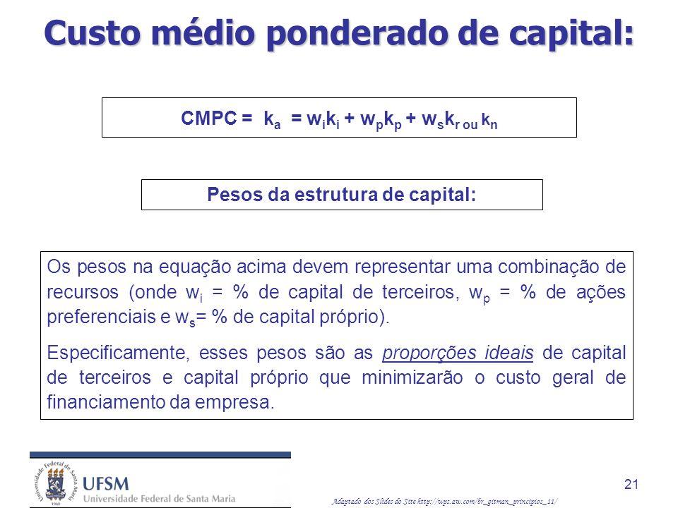 Adaptado dos Slides do Site http://wps.aw.com/br_gitman_principios_11/ 21 Pesos da estrutura de capital: CMPC = k a = w i k i + w p k p + w s k r ou k