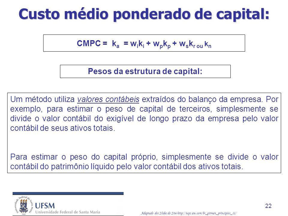 Adaptado dos Slides do Site http://wps.aw.com/br_gitman_principios_11/ 22 Um método utiliza valores contábeis extraídos do balanço da empresa. Por exe