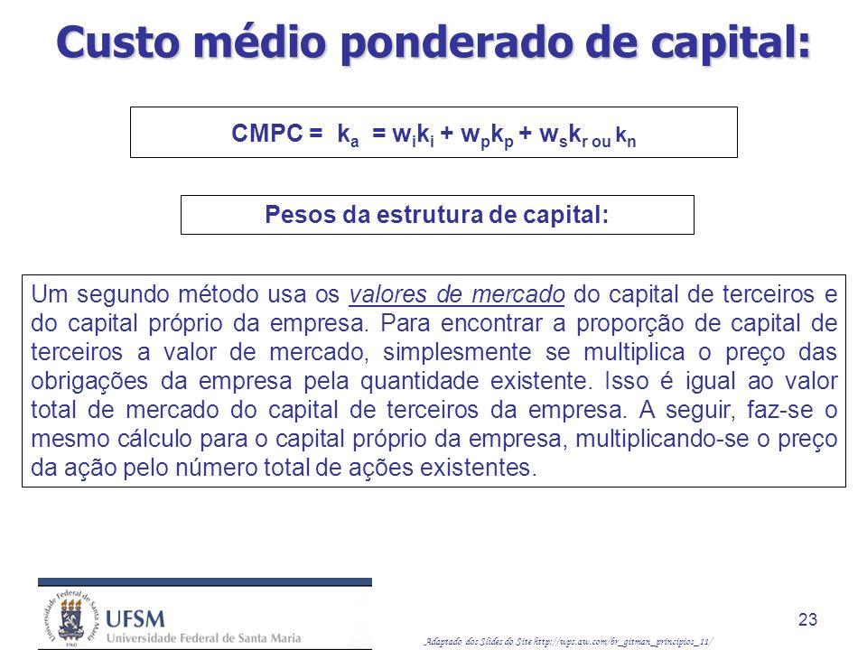 Adaptado dos Slides do Site http://wps.aw.com/br_gitman_principios_11/ 23 Um segundo método usa os valores de mercado do capital de terceiros e do cap