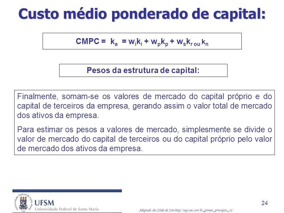 Adaptado dos Slides do Site http://wps.aw.com/br_gitman_principios_11/ 24 Finalmente, somam-se os valores de mercado do capital próprio e do capital d