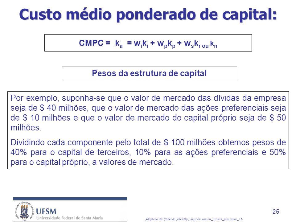 Adaptado dos Slides do Site http://wps.aw.com/br_gitman_principios_11/ 25 Por exemplo, suponha-se que o valor de mercado das dívidas da empresa seja d