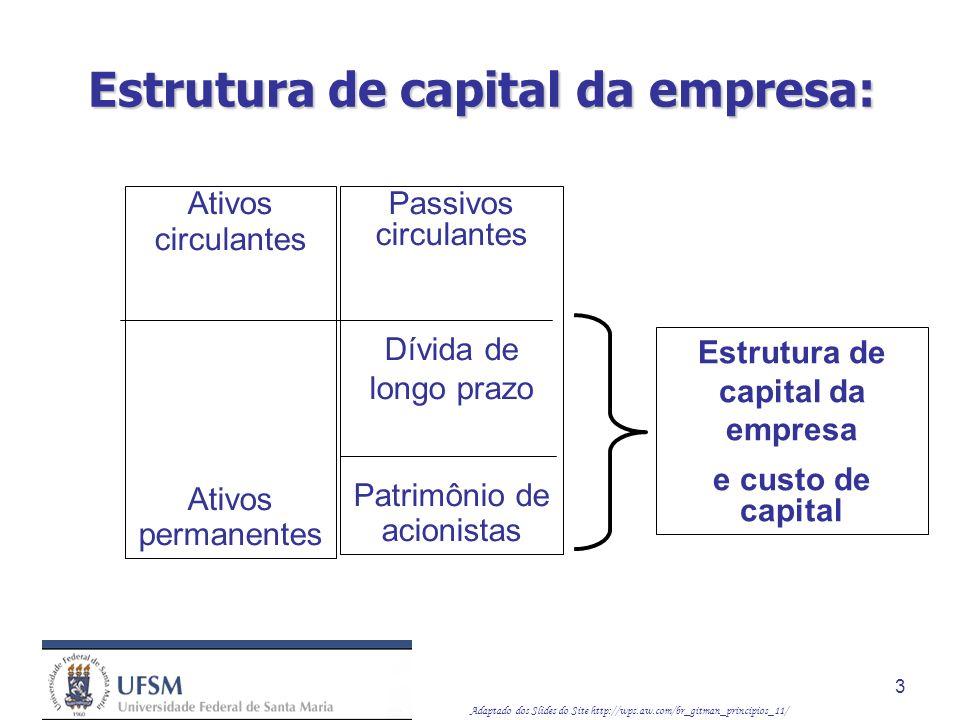 Adaptado dos Slides do Site http://wps.aw.com/br_gitman_principios_11/ 14 Custo de capital próprio: Usando o modelo de crescimento constante, temos: k S = ( D 1 / P 0 ) + g Também podemos estimar o custo de capital próprio usando o CAPM: k S = R F + b ( k M – R F ) O CAPM difere dos modelos de avaliação com crescimento constante no sentido de que considera explicitamente o risco da empresa, refletido em seu beta.