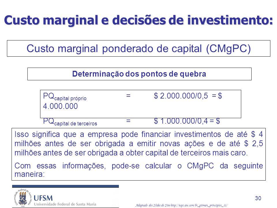 Adaptado dos Slides do Site http://wps.aw.com/br_gitman_principios_11/ 30 PQ capital próprio = $ 2.000.000/0,5 = $ 4.000.000 PQ capital de terceiros =