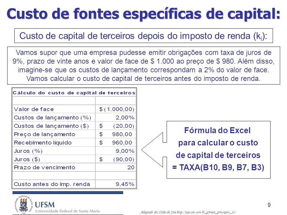 Adaptado dos Slides do Site http://wps.aw.com/br_gitman_principios_11/ 10 k i = k d (1 – T) Calcular o custo de capital de terceiros depois do imposto de renda, supondo que a alíquota de imposto de renda da empresa seja de 40%: k i = 9,45% (1 – 0,40) = 5,67% Isso indica que o custo de capital de terceiros depois do imposto de renda é igual a 5,67%.