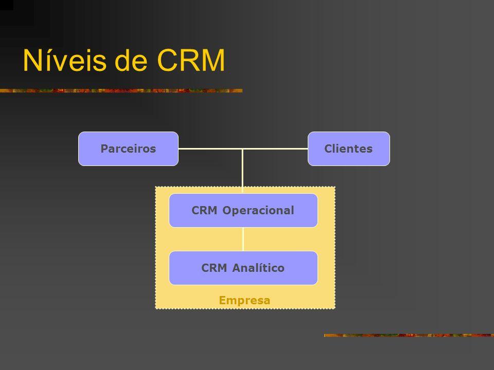 Níveis de CRM Empresa ClientesParceiros CRM Analítico CRM Operacional