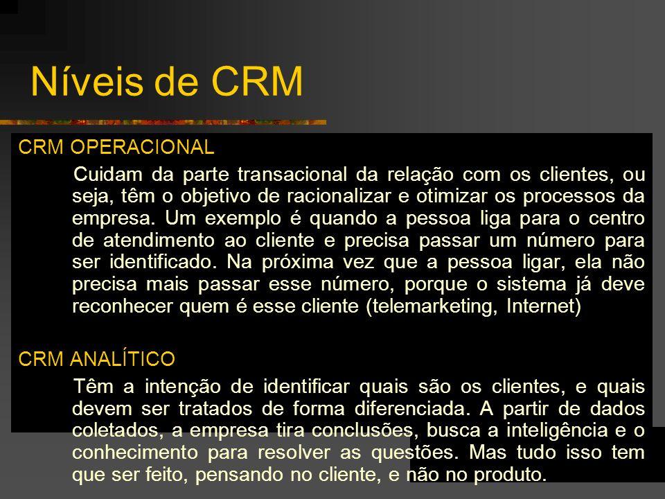 Níveis de CRM CRM OPERACIONAL Cuidam da parte transacional da relação com os clientes, ou seja, têm o objetivo de racionalizar e otimizar os processos