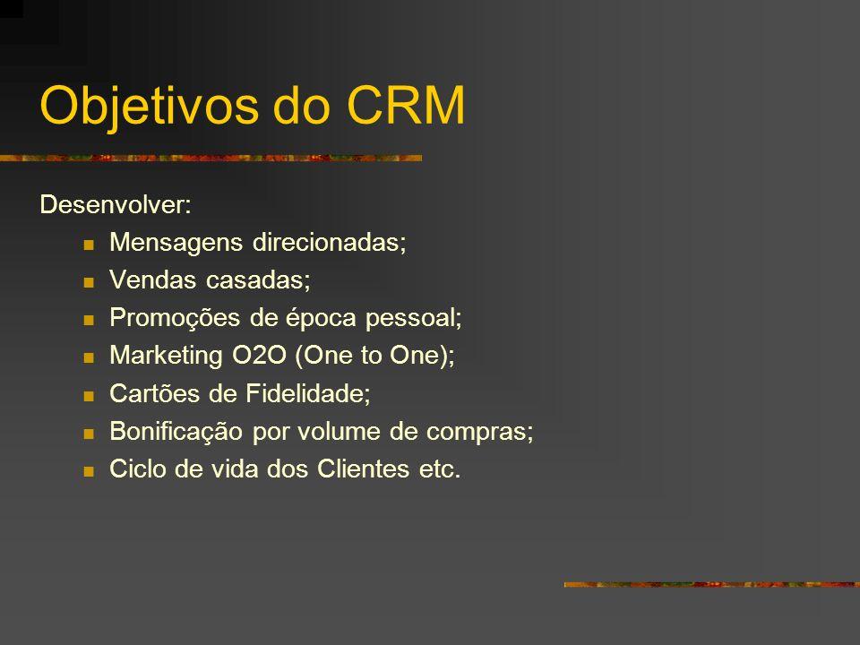 Objetivos do CRM Desenvolver: Mensagens direcionadas; Vendas casadas; Promoções de época pessoal; Marketing O2O (One to One); Cartões de Fidelidade; B