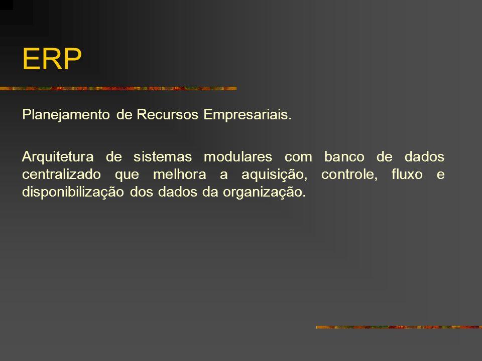 ERP Planejamento de Recursos Empresariais. Arquitetura de sistemas modulares com banco de dados centralizado que melhora a aquisição, controle, fluxo