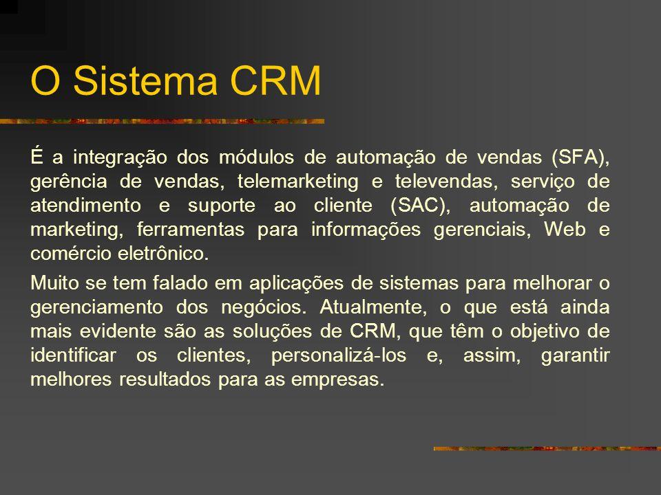 O Sistema CRM É a integração dos módulos de automação de vendas (SFA), gerência de vendas, telemarketing e televendas, serviço de atendimento e suport