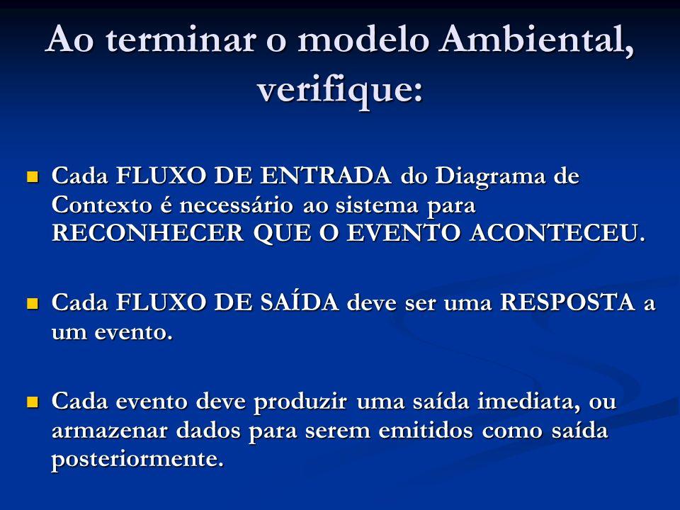 Ao terminar o modelo Ambiental, verifique: Cada FLUXO DE ENTRADA do Diagrama de Contexto é necessário ao sistema para RECONHECER QUE O EVENTO ACONTECE