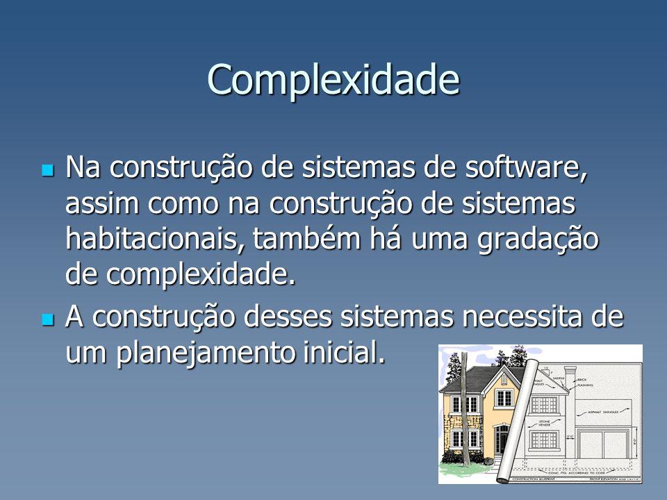 Complexidade Na construção de sistemas de software, assim como na construção de sistemas habitacionais, também há uma gradação de complexidade. Na con