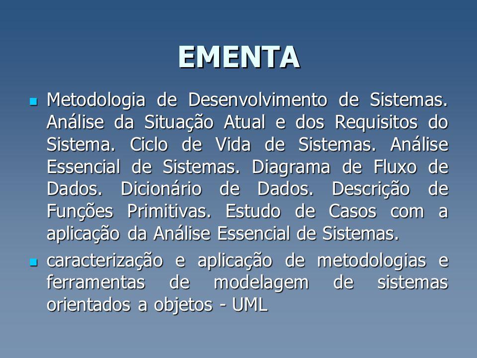 EMENTA Metodologia de Desenvolvimento de Sistemas. Análise da Situação Atual e dos Requisitos do Sistema. Ciclo de Vida de Sistemas. Análise Essencial