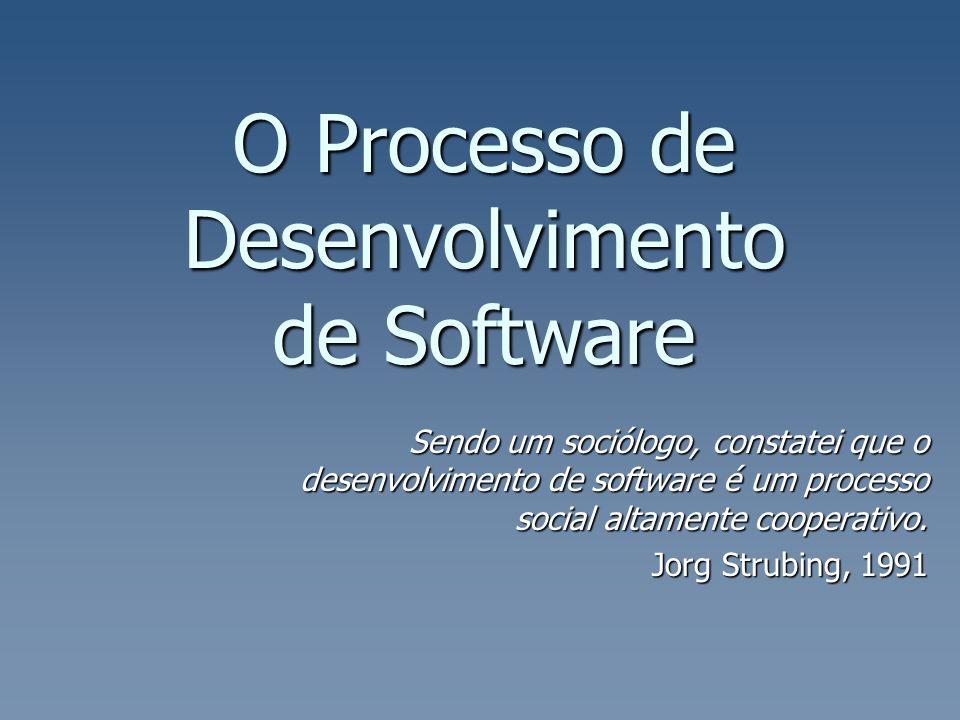O Processo de Desenvolvimento de Software Sendo um sociólogo, constatei que o desenvolvimento de software é um processo social altamente cooperativo.