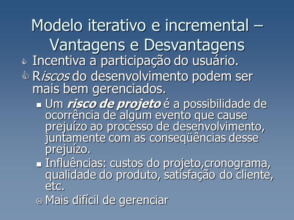 Modelo iterativo e incremental – Vantagens e Desvantagens Incentiva a participação do usuário. Incentiva a participação do usuário. Riscos do desenvol