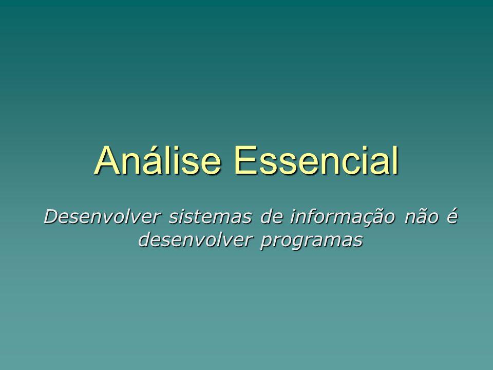 Análise Essencial Desenvolver sistemas de informação não é desenvolver programas