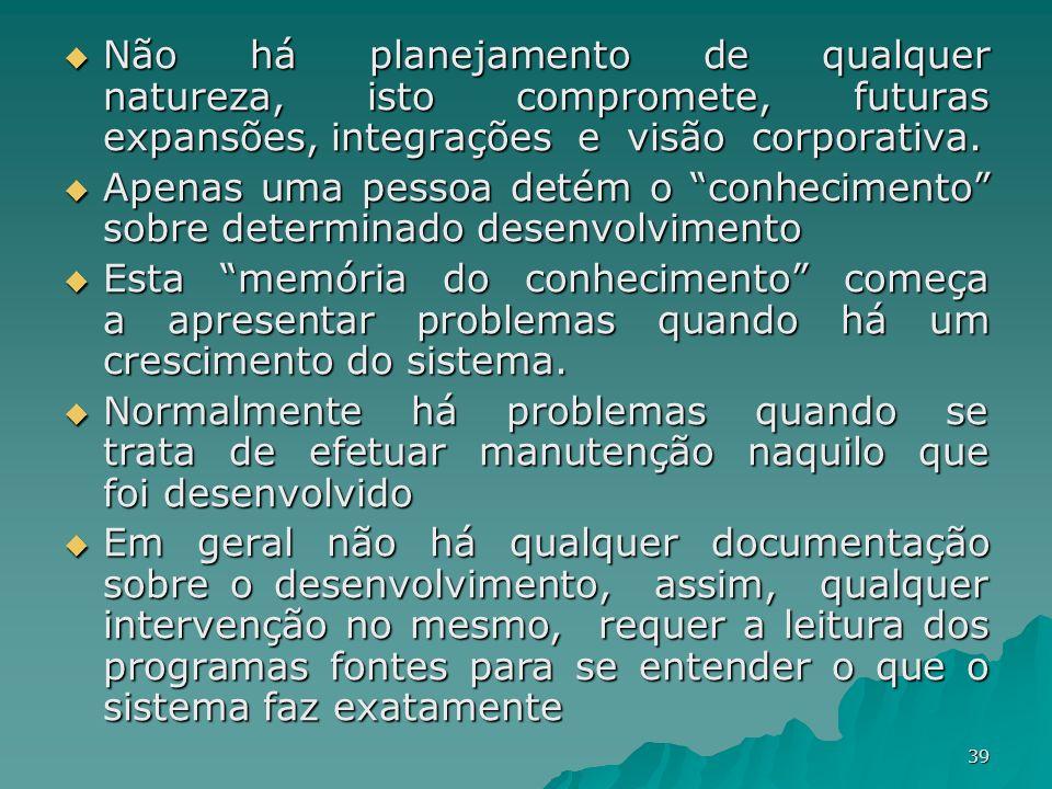 39 Não há planejamento de qualquer natureza, isto compromete, futuras expansões, integrações e visão corporativa. Não há planejamento de qualquer natu