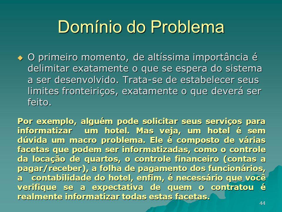 44 Domínio do Problema O primeiro momento, de altíssima importância é delimitar exatamente o que se espera do sistema a ser desenvolvido. Trata-se de