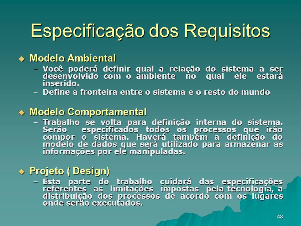 48 Especificação dos Requisitos Modelo Ambiental Modelo Ambiental –Você poderá definir qual a relação do sistema a ser desenvolvido com o ambiente no