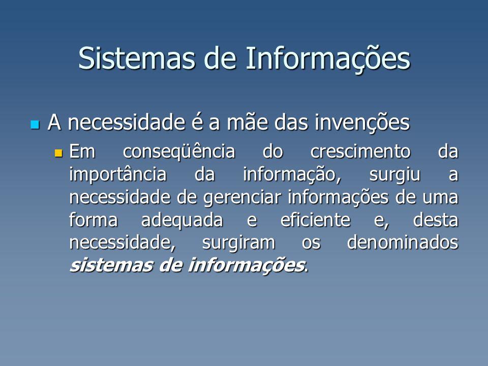 Sistemas de Informações A necessidade é a mãe das invenções A necessidade é a mãe das invenções Em conseqüência do crescimento da importância da infor