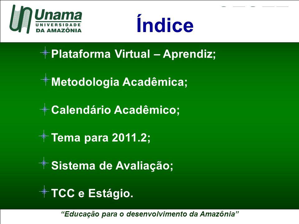 Educação para o desenvolvimento da Amazônia A UNAMA NO BRASIL Plataforma Virtual – Aprendiz; Metodologia Acadêmica; Calendário Acadêmico; Tema para 20