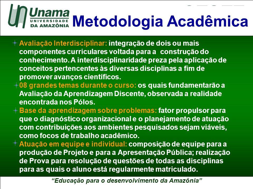 Educação para o desenvolvimento da Amazônia A UNAMA NO BRASIL Avaliação Interdisciplinar: integração de dois ou mais componentes curriculares voltada