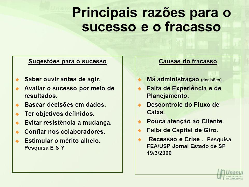 Principais razões para o sucesso e o fracasso Sugestões para o sucesso Saber ouvir antes de agir. Avaliar o sucesso por meio de resultados. Basear dec