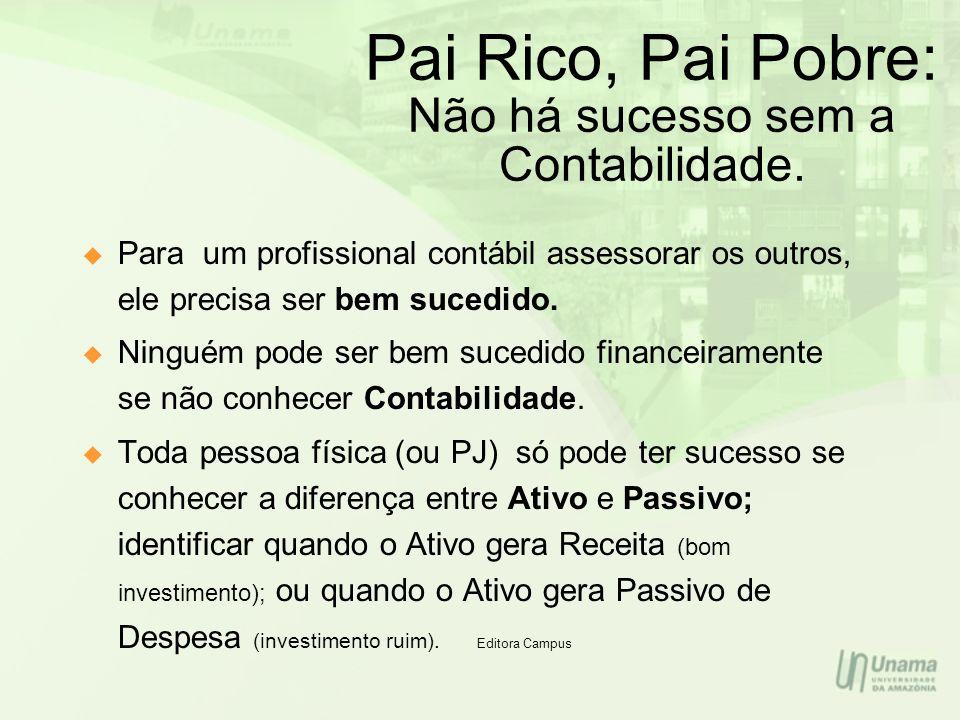 Pai Rico, Pai Pobre: Não há sucesso sem a Contabilidade. Para um profissional contábil assessorar os outros, ele precisa ser bem sucedido. Ninguém pod