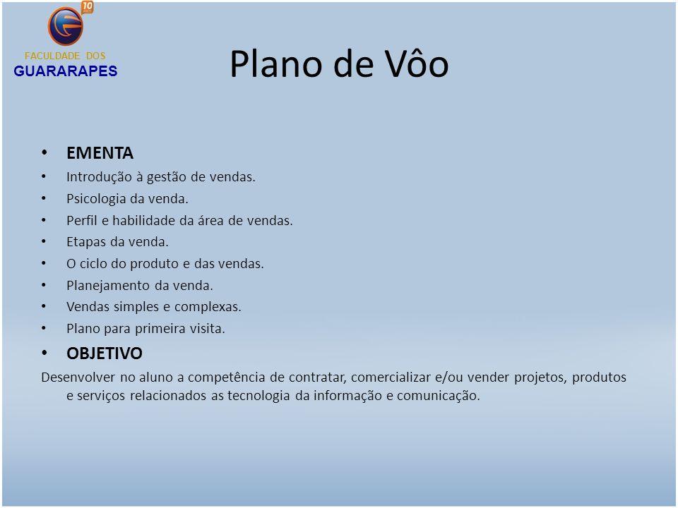 Plano de Vôo HABILIDADES E COMPETÊNCIAS Negociação em contratos Capacidade de vendas Elaboração de plano de negócios Terceirização de serviços FACULDADE DOS GUARARAPES