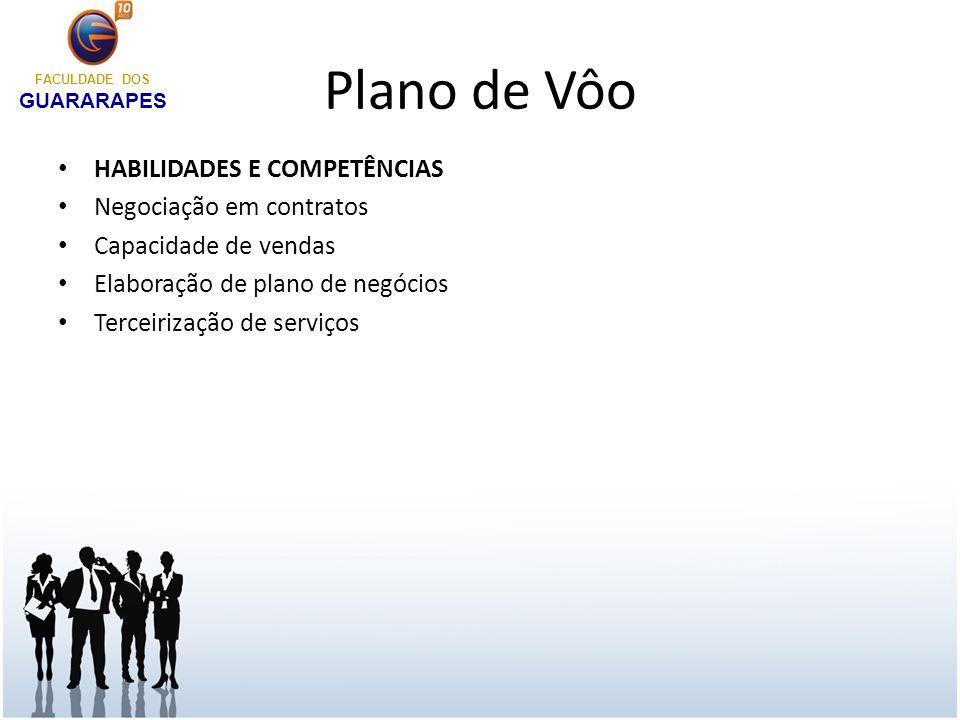 Plano de Vôo HABILIDADES E COMPETÊNCIAS Negociação em contratos Capacidade de vendas Elaboração de plano de negócios Terceirização de serviços FACULDA