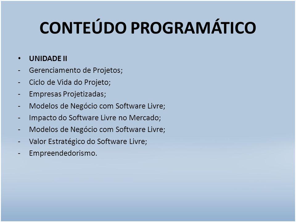 CONTEÚDO PROGRAMÁTICO UNIDADE II -Gerenciamento de Projetos; -Ciclo de Vida do Projeto; -Empresas Projetizadas; -Modelos de Negócio com Software Livre