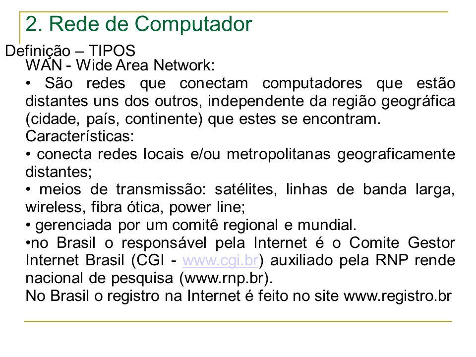 2. Rede de Computador Definição – TIPOS WAN - Wide Area Network: São redes que conectam computadores que estão distantes uns dos outros, independente