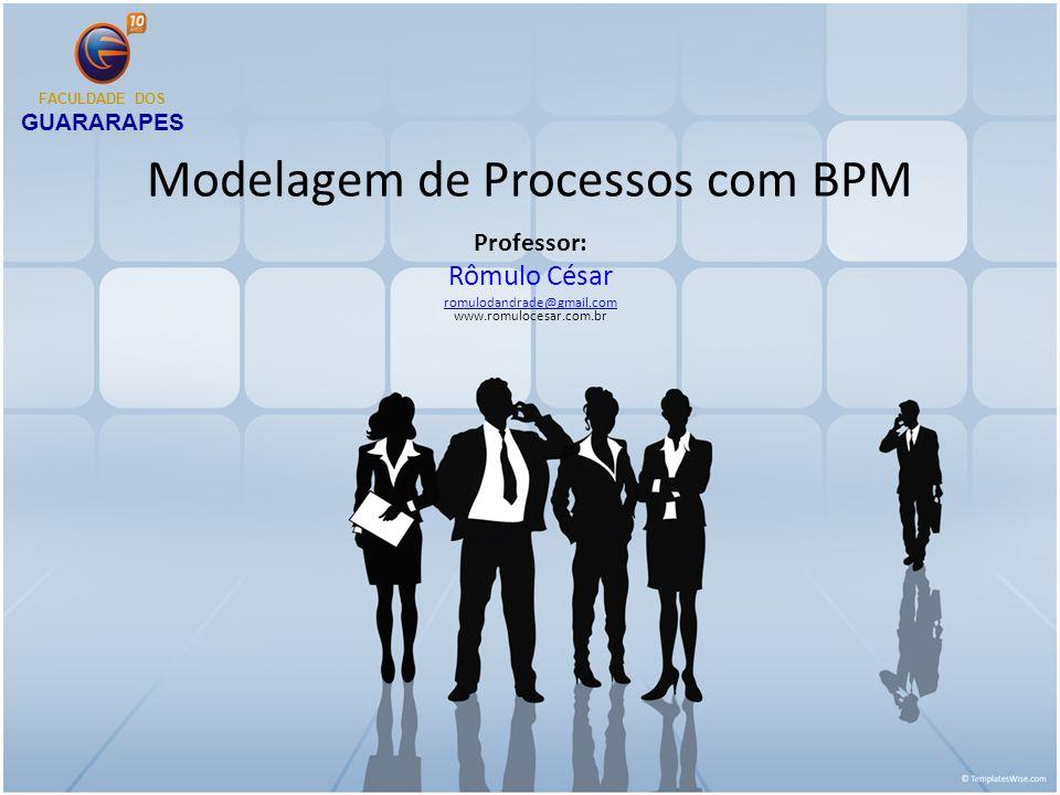 Modelagem de Processos com BPM Professor: Rômulo César romulodandrade@gmail.com romulodandrade@gmail.com www.romulocesar.com.br FACULDADE DOS GUARARAPES