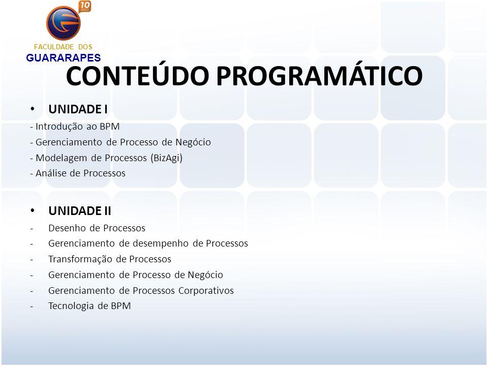 CONTEÚDO PROGRAMÁTICO UNIDADE I - Introdução ao BPM - Gerenciamento de Processo de Negócio - Modelagem de Processos (BizAgi) - Análise de Processos UNIDADE II -Desenho de Processos -Gerenciamento de desempenho de Processos -Transformação de Processos -Gerenciamento de Processo de Negócio -Gerenciamento de Processos Corporativos -Tecnologia de BPM FACULDADE DOS GUARARAPES