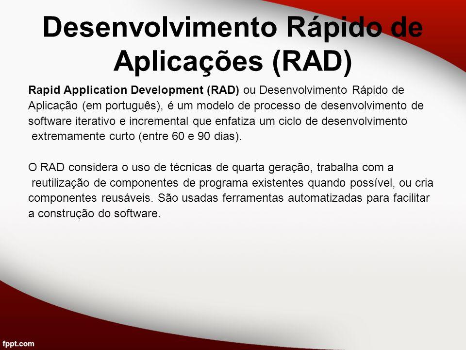 Desenvolvimento Rápido de Aplicações (RAD) Rapid Application Development (RAD) ou Desenvolvimento Rápido de Aplicação (em português), é um modelo de p