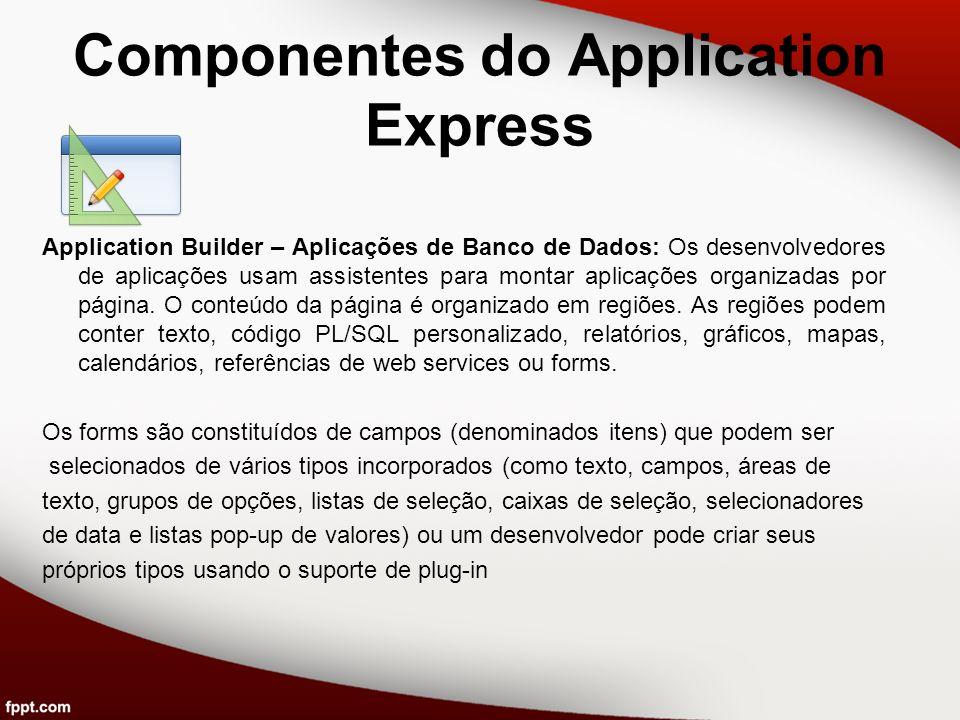 Componentes do Application Express Application Builder – Aplicações de Banco de Dados: Os desenvolvedores de aplicações usam assistentes para montar a