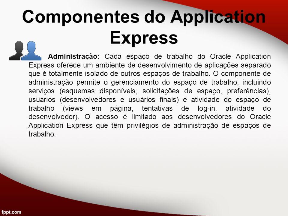 Componentes do Application Express Administração: Cada espaço de trabalho do Oracle Application Express oferece um ambiente de desenvolvimento de apli