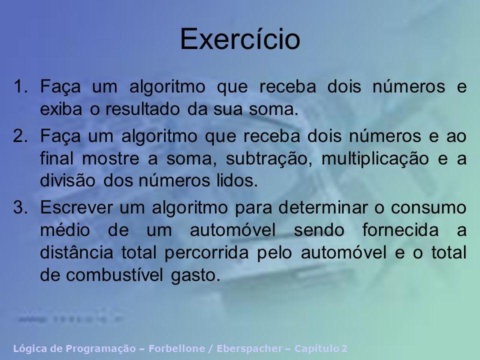 Exercício 1.Faça um algoritmo que receba dois números e exiba o resultado da sua soma. 2.Faça um algoritmo que receba dois números e ao final mostre a