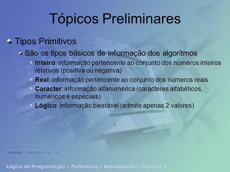 Lógica de Programação – Forbellone / Eberspacher – Capítulo 2 Tópicos Preliminares Tipos Primitivos São os tipos básicos de informação dos algoritmos