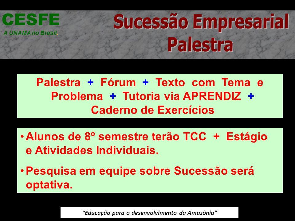 Educação para o desenvolvimento da Amazônia Palestra + Fórum + Texto com Tema e Problema + Tutoria via APRENDIZ + Caderno de Exercícios CESFE A UNAMA