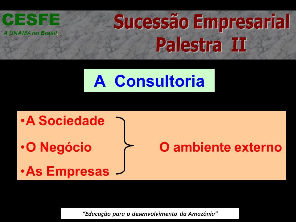 Educação para o desenvolvimento da Amazônia A Consultoria CESFE A UNAMA no Brasil. A Sociedade O Negócio O ambiente externo As Empresas